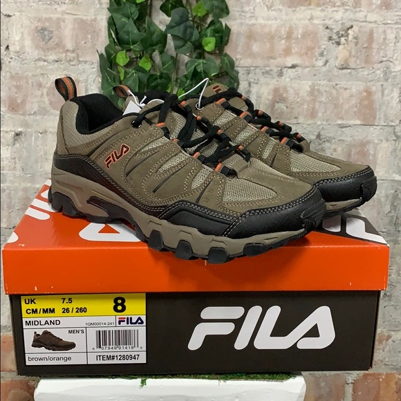 NIB Men's Fila Midland Athletic Hiking Shoe Brown Boutique